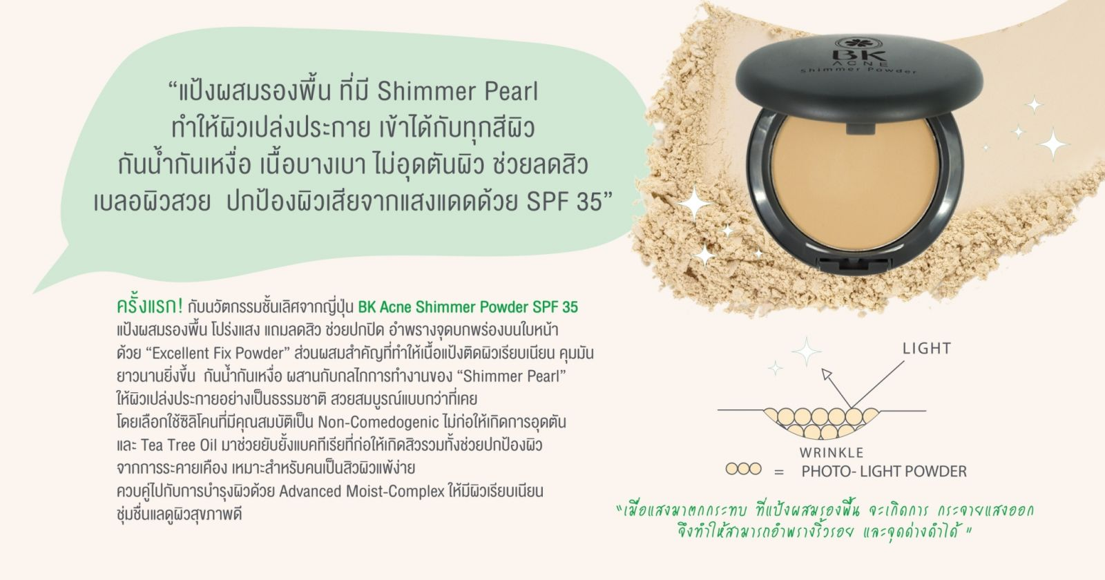 BK MASK, BK MASK BK Acne Shimmer Matt Powder SPF35, BK MASK BK Acne Shimmer Matt Powder SPF35 รีวิว, BK MASK BK Acne Shimmer Matt Powder SPF35 ราคา, BK Acne Shimmer Matt Powder SPF35, BK Acne Shimmer Matt Powder SPF35 #02 Natural, BK MASK BK Acne Shimmer Matt Powder SPF35 #02 Natural 8.5 g.