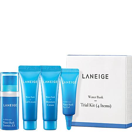 Laneige Water Bank Trial Kit (4 Items) เซตฟื้นฟูผิวจากความแห้งกร้าน ให้ชุ่มชื่นอิ่มน้ำขั้นสุด ผิวสวยนุ่มอิ่มน้ำในทุกๆวัน
