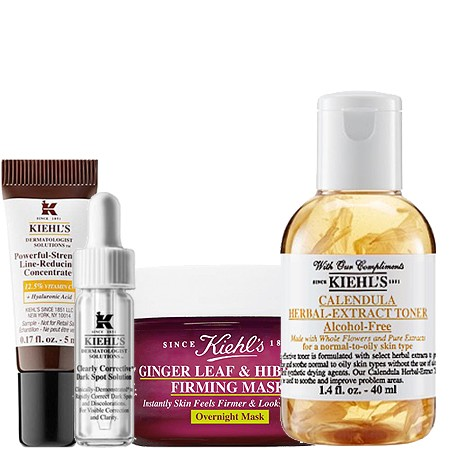 Kiehl's Kiehl's Set 1 Clearly Corrective Dark Spot Solution 4 ml + Calendula Herbal-extraCT toner Alcohol-free 40 ml + Powerful-Strength Line-Reducing Concentrate 12.5% 5 ml + Ginger Leaf& Hibiscus Firming Mask 14 ml.