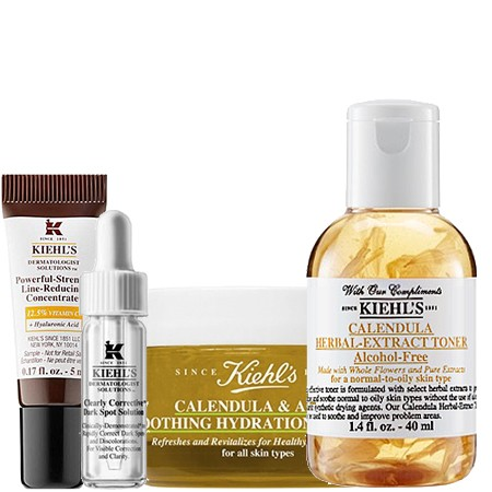 Kiehl's Kiehl's Set 2 Clearly Corrective Dark Spot Solution 4 ml + Calendula Herbal-extraCT toner Alcohol-free 40 ml + Powerful-Strength Line-Reducing Concentrate 12.5% 5 ml + Calendula & Aloe Soothing Hydration Masque 14 ml.